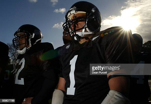 Iron Blacks No1 Terry Simpson looks on from the sideline during the American Football match between the New Zealand Iron Blacks and Australia played...