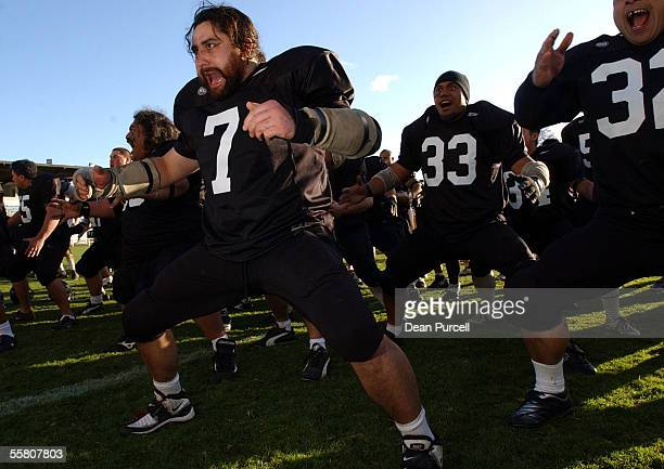 Iron Blacks No7 Ian Boyd leads the Haka after the American Football match between the New Zealand Iron Blacks and Australia played at Eden Park...
