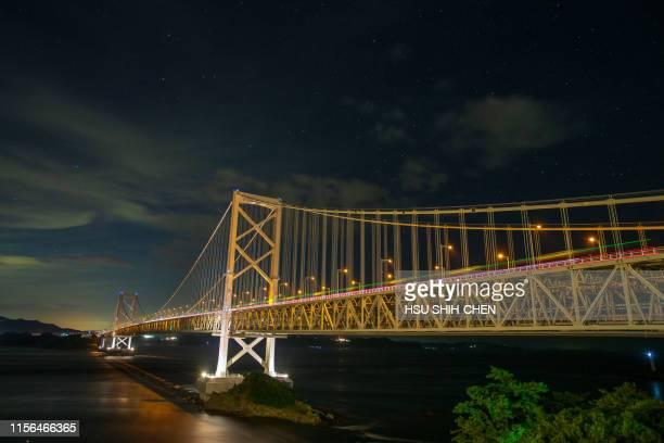 iron bridge night with stars - naruto stock photos and pictures