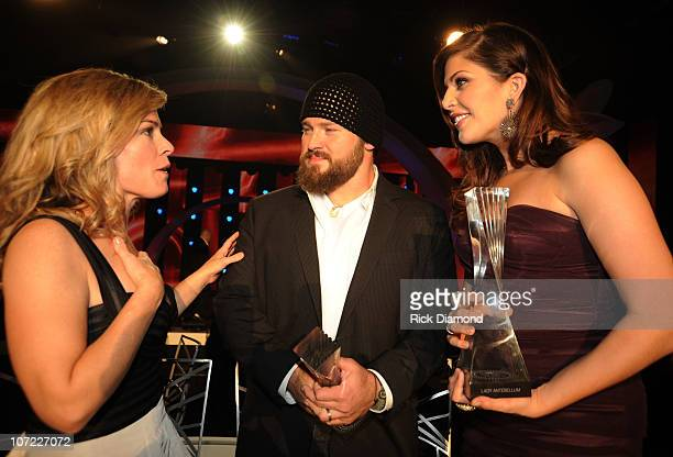 COVERAGE*** Iron Chef Cat Cora and Honorees Zac Brown and Hillary Scott of Lady Antebellum at the CMT Artists of the Year at The Factory on November...