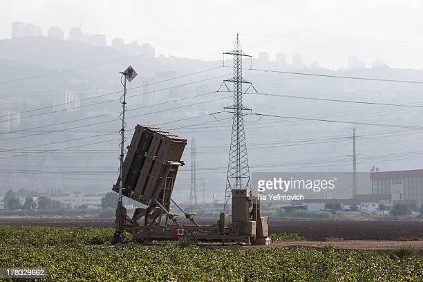 Iron Dome missile battery seen in industrial area of Haifa as tension surrounding the Syrian crisis escalates on August 29, 2013 in Haifa, Israel....