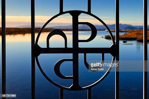 Iron fence decoration at Thingvellir NP, Iceland