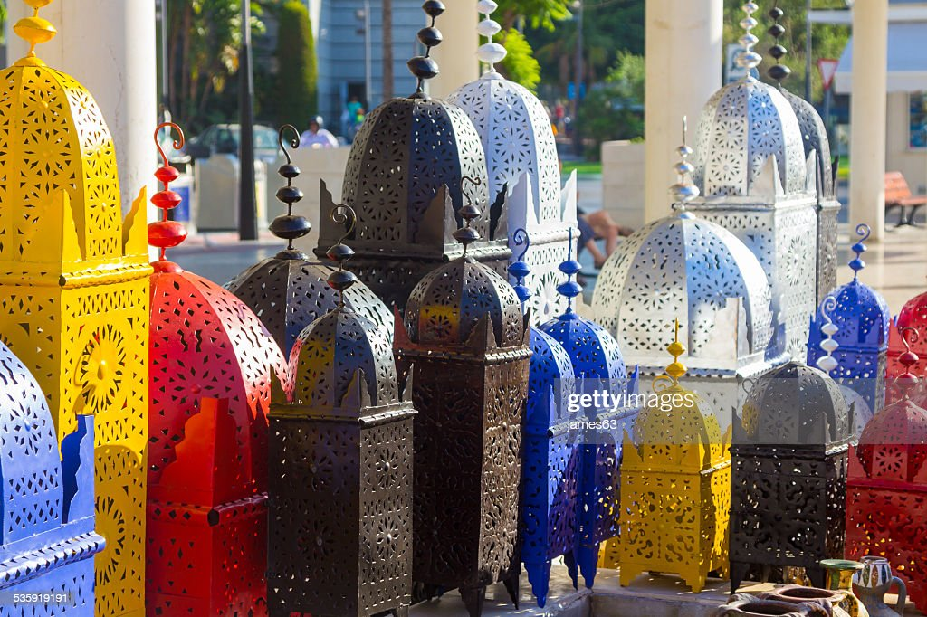 iron lamps arabic style draft of pretty colors : Stock Photo