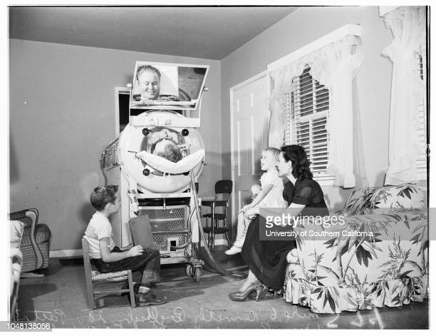 Iron Lung 10 October 1951 Kenneth Byllesby 28 years in respiratorMike Byllesby 6Patti Byllesby 3Mrs Connie Byllesby Don Pierce the mailmanCaption...