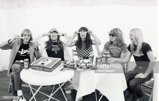 Iron Maiden backstage at the Reading Festival, Reading, 8/29/1982. Pictured are, from left, Clive Burr, Bruce Dickinson, Steve Harris, Adrian Smith,...