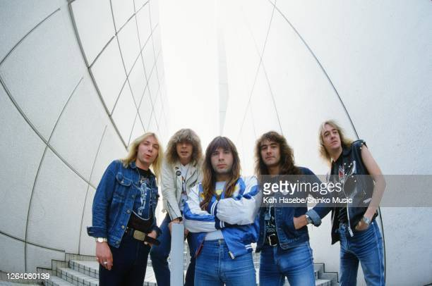 Iron Maiden, band photo, Shinjuku, Tokyo, Japan, circa November/December 1982; they are : Dave Murray , Clive Burr , Bruce Dickinson , Steve Harris ,...