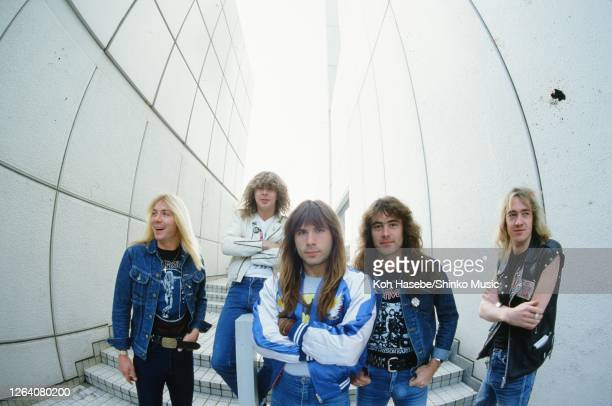 Iron Maiden, band photo, Shinjuku, Tokyo, Japan, circa November/December 1982; they are : Dave Murray , Clive Burr , Bruce Dickinson , Steve Harris ,...