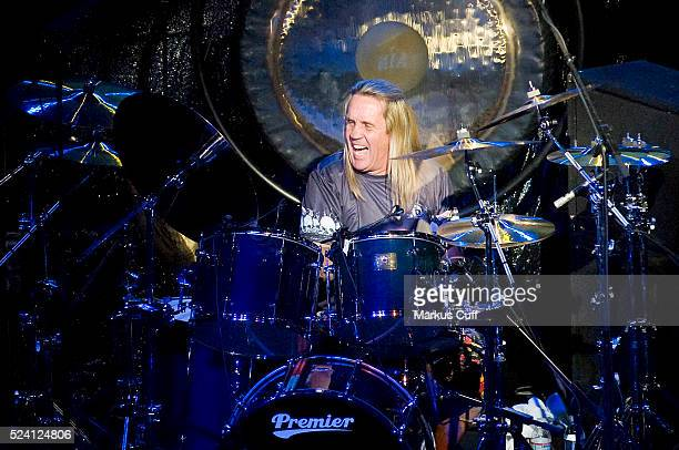 Iron Maiden drummer Nicko McBrain performs at the Guitar Center Drum Off in Hollywood