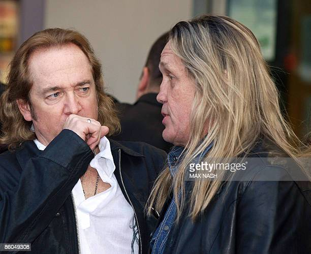 Iron Maiden guitarist Adrian Smith and drummer Nicko McBrain arrive at London's Kensington to attend the Premiere of the film made on their tour...