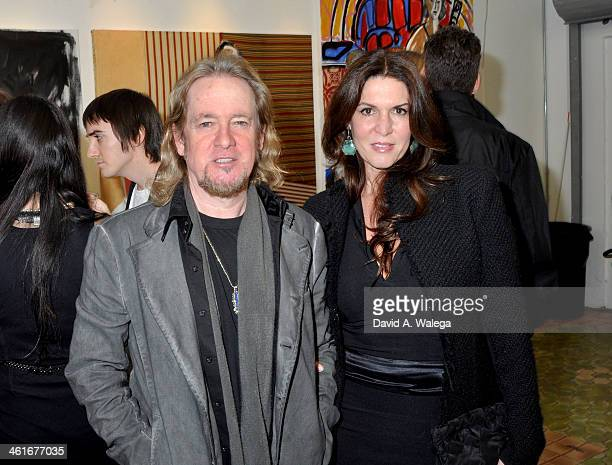 Iron Maiden guitarist Adrian Smith with wife Natalie attend artist Domingo Zapata's exhibition 'A Nod to Matisse' at LAB ART on January 9 2014 in Los...