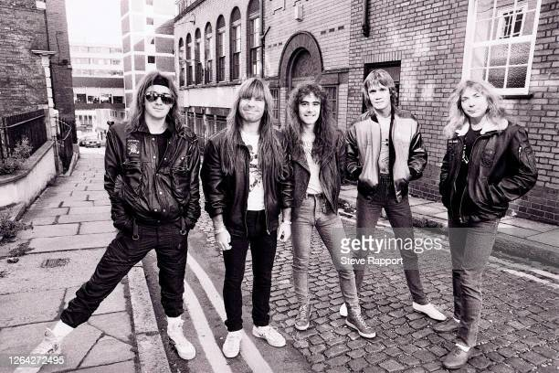 Iron Maiden, Nottingham, 9/28/1984.Pictured are, from left, Adrian Smith, Bruce Dickinson, Steve Harris, Steve Harris, Nicko McBrain, and Dave Murray.