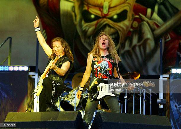 Iron Maiden perform live on stage at the 'Download Festival' on May 31 2003 in Donnington Park Derbyshire England