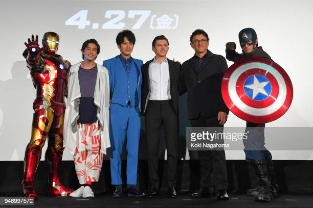 Iron Man Actor Gaku Sano Actor Junpei Mizobata Actor Tom Holland Film Director Anthony Lusso Captain America attend the fan event for 'Avengers...