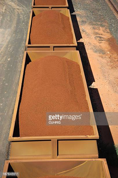 Iron Ore in Train Cars filled with minerals
