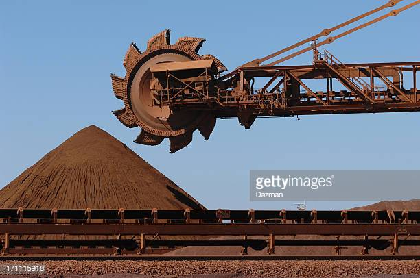 Iron Ore reclaimer machine and stockpile