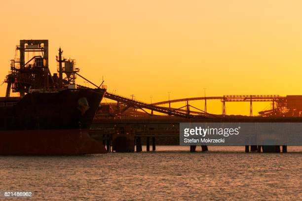 Iron Ore Ship At Sunset, Port Hedland, Australia