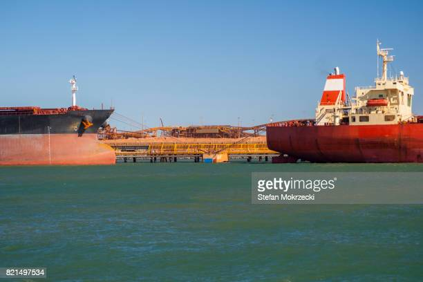 Iron Ore Ships At Berth, Port Hedland, Australia