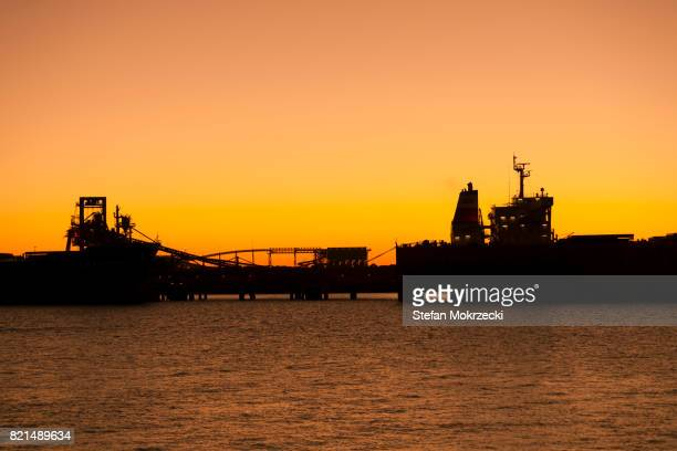 Iron Ore Ships At Sunset, Port Hedland, Australia