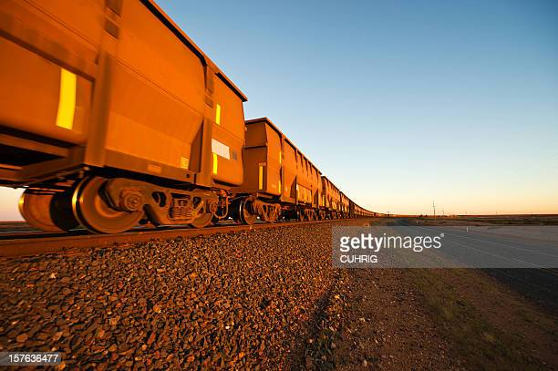 iron ore train cars close up - iron ore stock photos and pictures