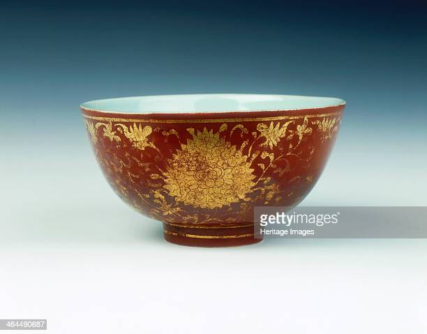 Iron red kinrande bowl with gilt floral design Ming dynasty China mid 16th century A kinrande bowl with steeply rounded sides standing on a slightly...