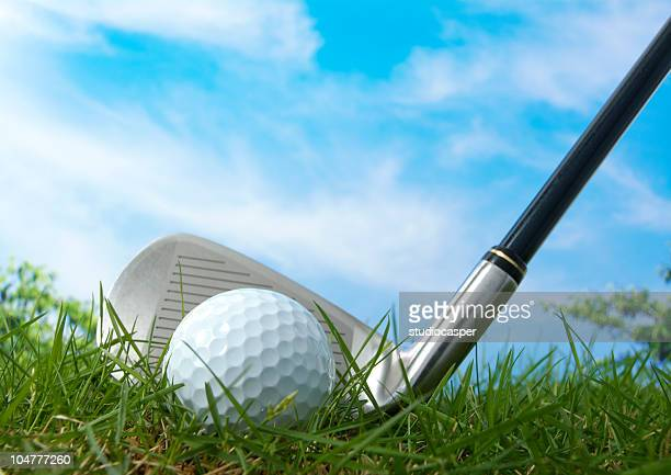 iron shot - tee sports equipment stock photos and pictures