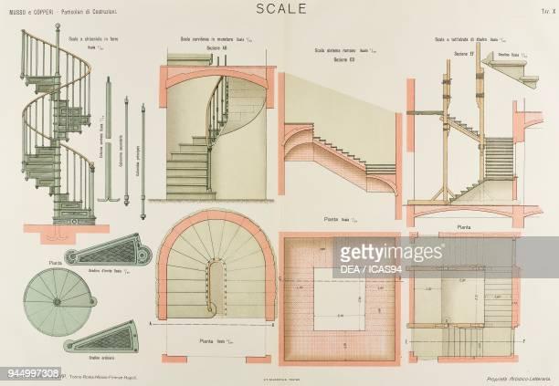 Iron spiral staircase brick curvilinear staircase Roman staircase raised cantilever staircase chromolithograph from Particolari di costruzioni murali...