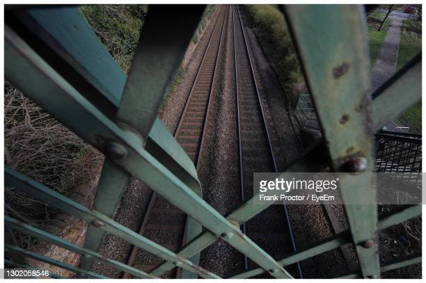 iron structure on a railway footbridge. - dundee scotland stock pictures, royalty-free photos & images