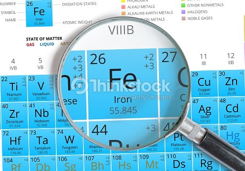 iron symbol fe element of the periodic table zoomed stock photo