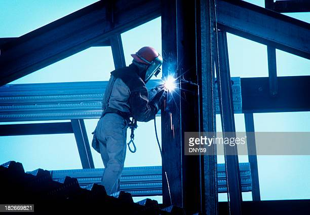 iron worker welding i beam - labor union stock pictures, royalty-free photos & images