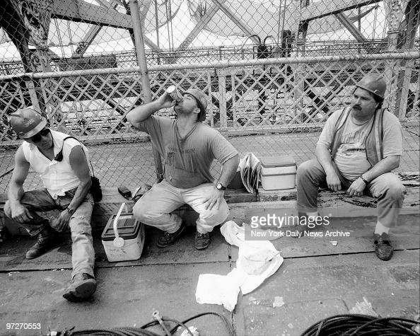 Iron Workers Local 361 work on rebuilding of the Williamsburg Bridge