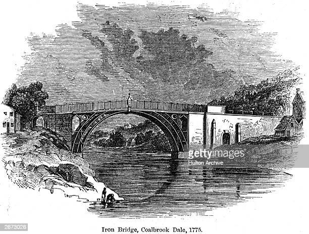 Ironbridge in Coalbrookdale Shropshire Completed in 1779 the bridge which spans the River Severn was the first to be manufactured from cast iron