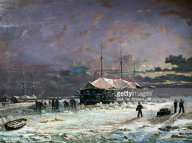 Ironclad floating battery of the Devastation class spending the winter in the Crimea in winter 18551856 ca 1870 painting by PierreEmile de Crissenoy...