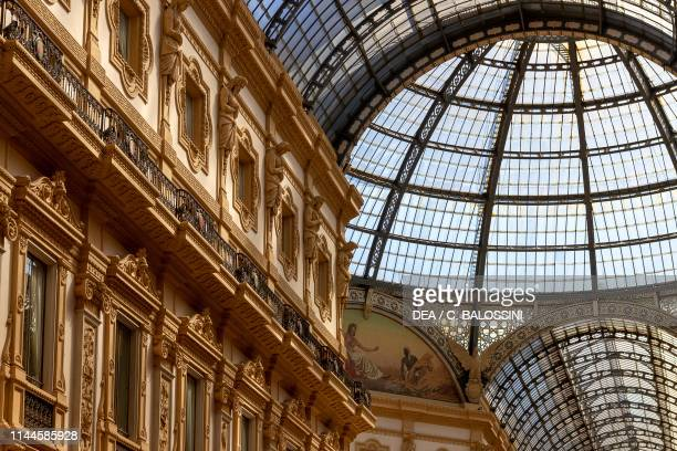 Ironglass cover and architectural decorations of Galleria Vittorio Emanuele II by Giuseppe Mengoni Milan Lombardy Italy 19th century