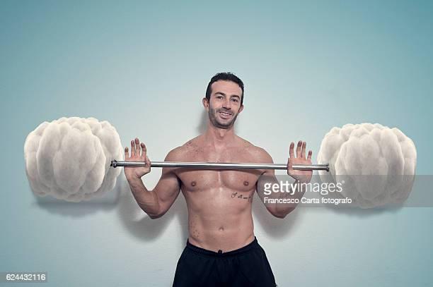 ironic bodybuilder - irony stockfoto's en -beelden