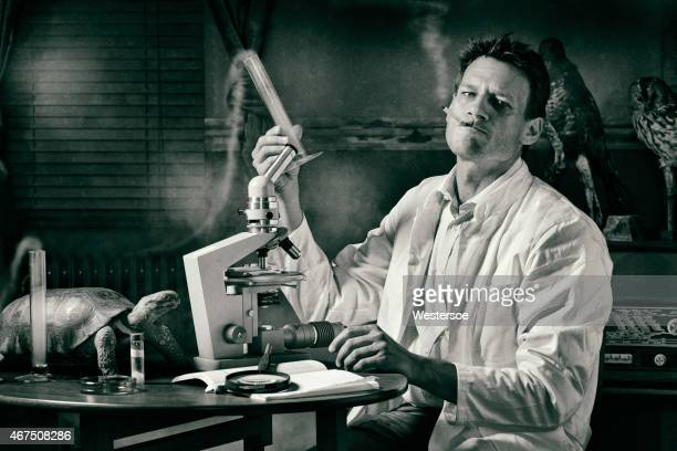 Ironical image of smoking scientist researching