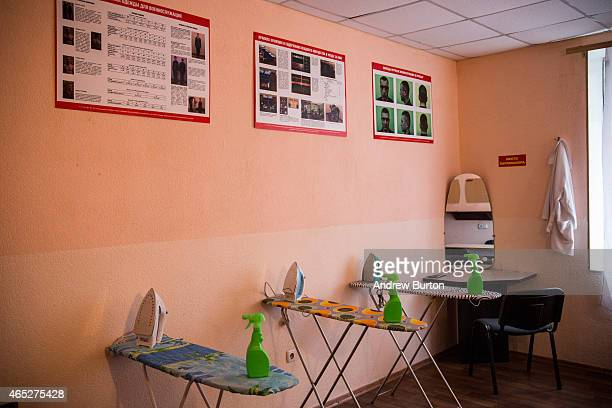 A ironing boards stand in a training room for ironing uniforms at proRussian rebel Battalion Kalmius headquarters on March 5 2015 in Donetsk Ukraine...