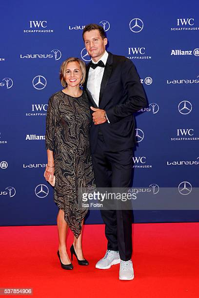 Ironman Jan Frodeno and his wife Emma Snowsill attend the Laureus World Sports Awards 2016 on April 18 2016 in Berlin Germany