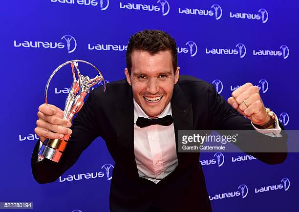 Ironman Jan Frodeno of Germany poses with his Laureus World Action Sportsperson of the Year trophy during the 2016 Laureus World Sports Awards...