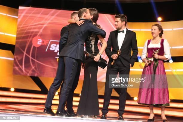 Ironman winner 2017 Patrick Lange Ironman 2017 Hurdler Gesa Felicitas Krause and winner Johannes Rydzek and Biathlete Laura Dahlmeier with award...