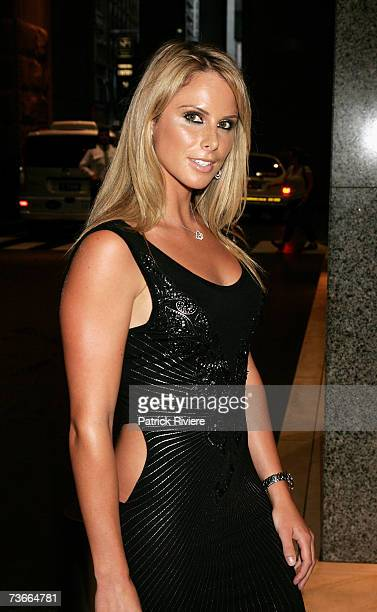 Ironwoman Candice Falzon arrives at the Rachel Hunter St Tropez Beach Party a fundraiser for the Sydney Children's Hospital at Westmead featuring a...