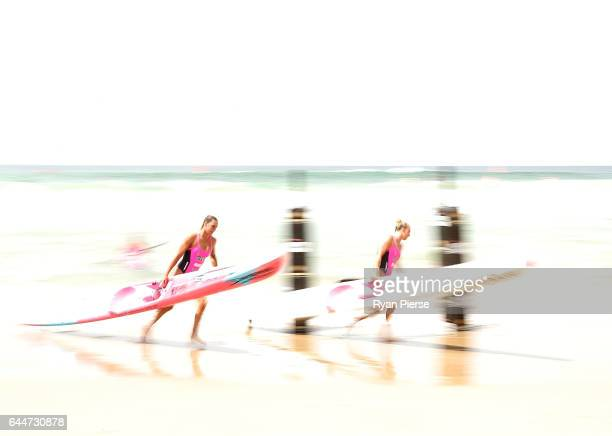 Ironwomen compete in the ski leg during the Round One Enduro during the Nutri Grain IronMan and IronWoman Finals at Cronulla Beach on February 24...