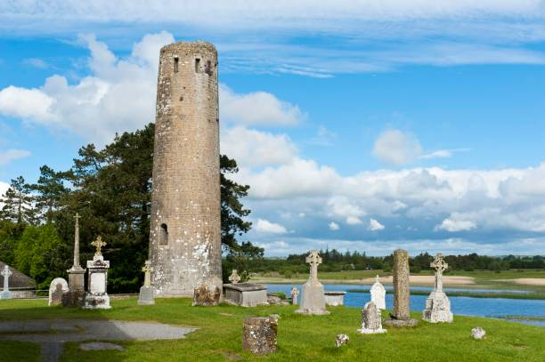 Iroquois church, Irish crosses, Celtic crosses, round tower, Clonmacnoise monastery ruin, River Shannon, near Athlone, County Offlay, Ireland