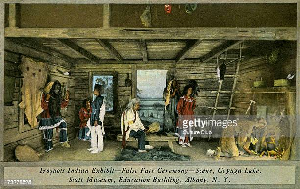 Iroquois Indian Exhibit State Museum Albany The photograph depicts an exhibit in the State Museum dating to early 20th century Caption reads 'False...