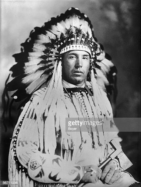 Iroquois Indians of Canada Chief Sunrise of the tribe of blood in costume of official reception 1927