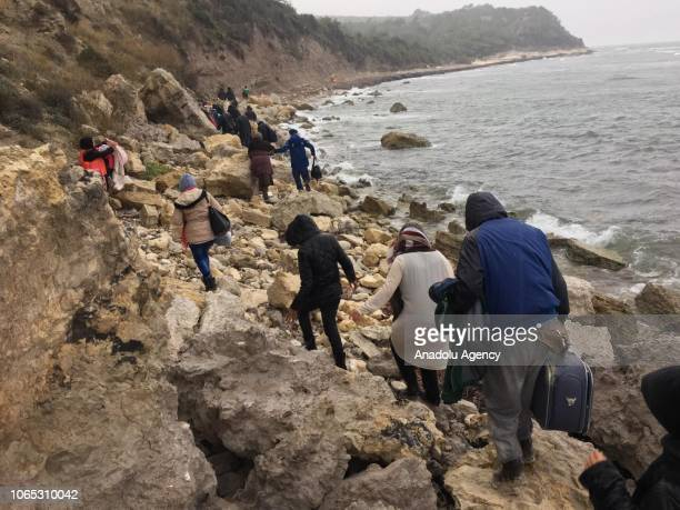 Irregular migrants who were trying to trespass Lesbos Island of Greece are being saved by Turkish gendarmerie team after they were stranded due to...