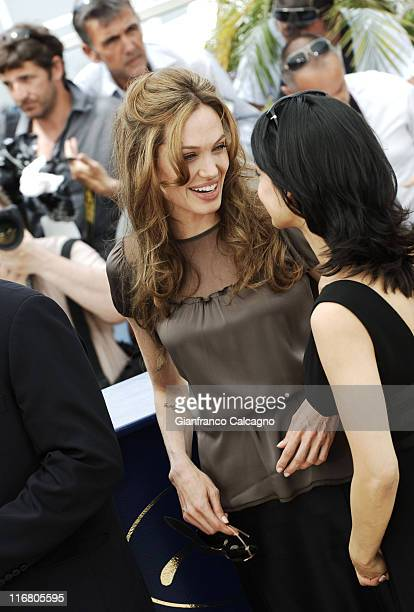 Irrfan Khan and Angelina Jolie during 2007 Cannes Film Festival A Mighty Heart Photocall at Palais des Festivals in Cannes France