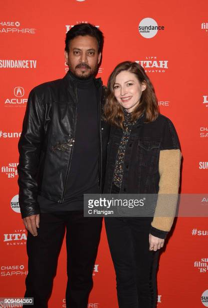 Irrfan Khan and Kelly Macdonald attend the 'Puzzle' Premiere at Eccles Center Theatre during the 2018 Sundance Film Festival on January 23 2018 in...