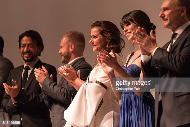 Irrfan Khan Ben Foster Sidse Babett Knudsen Ana Ularu and Dan Brown attend the INFERNO World Premiere Red Carpet at the Opera di Firenze on October 8...