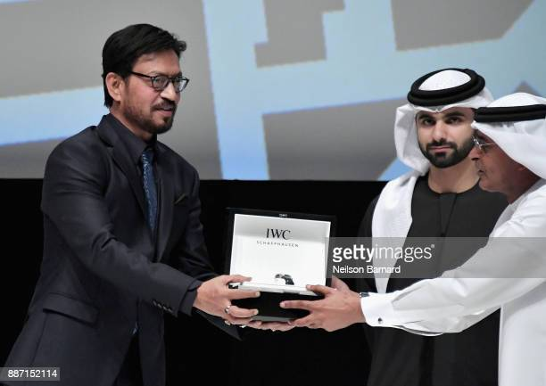 Irrfan Khan on stage after he received his Honorary Award from HH Sheikh Mansoor bin Mohammed bin Rashid Al Maktoum and DIFF Chairman Abdulhamid Juma...