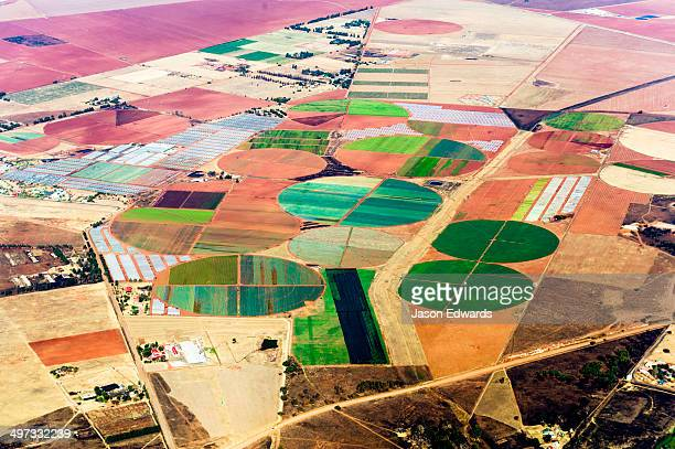 Irrigated agricultural crop circles surrounded by dry farmland and pasture.